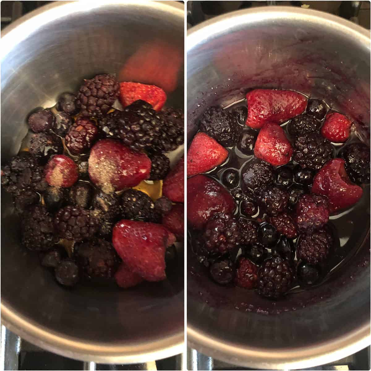 Berries being cooked in a saucepan until soft