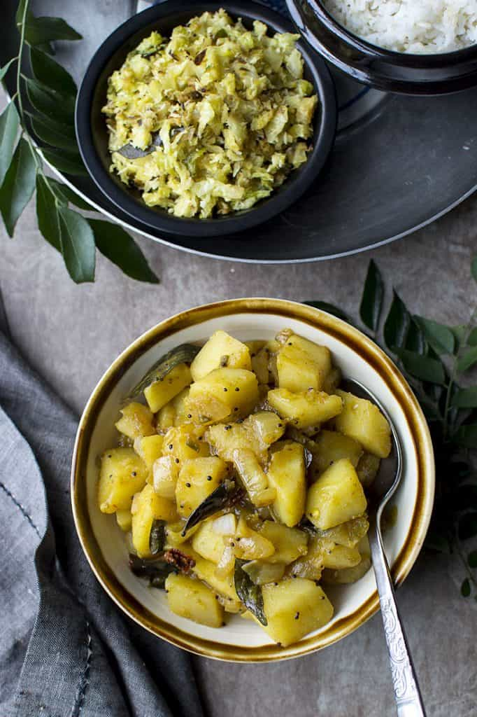Bowl of Bombay Aloo and cabbage poriyal