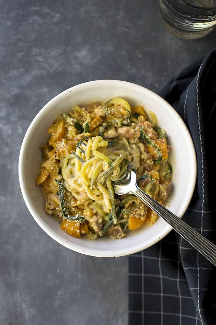 Zucchini noodles with lemon cream sauce