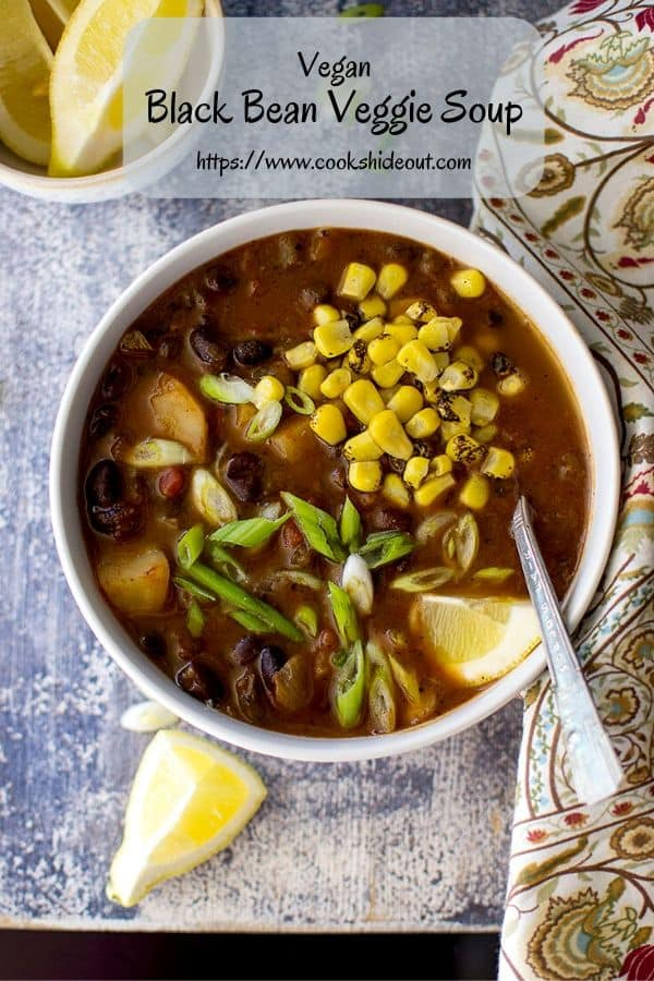Pin image for soup with beans and veggies