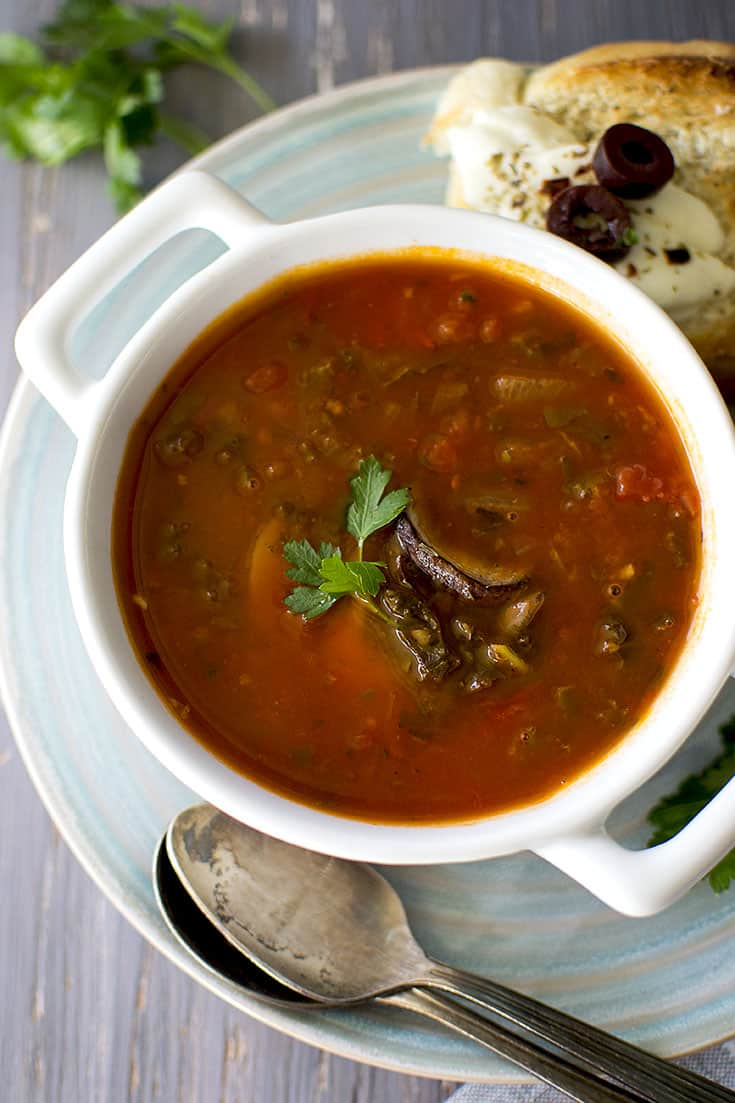 Bowl of Tomato Soup with mushrooms