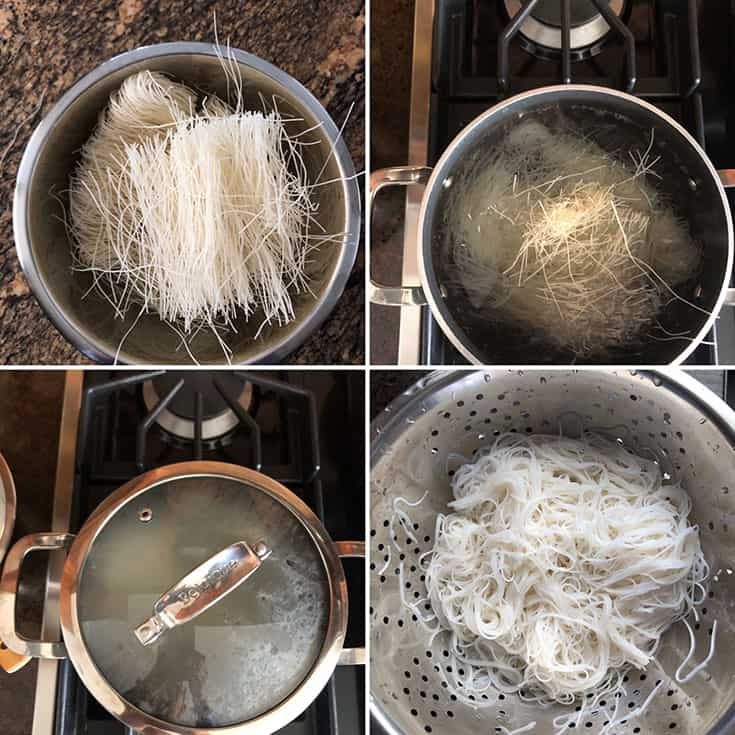 Step by step instructions for cooking dried rice noodles