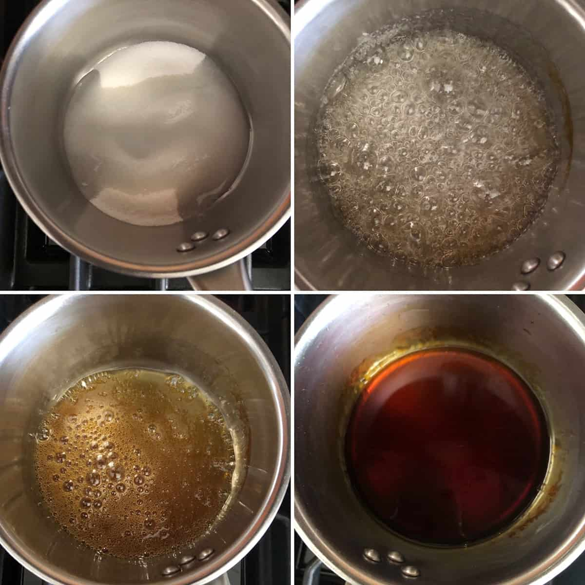 Step by step photos showing the making of caramel sauce