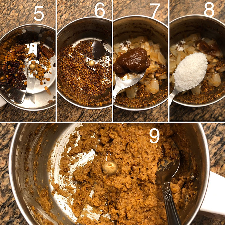 Step by step photos showing the making of spice paste