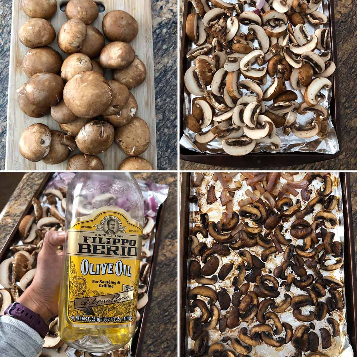 Step by step photos showing baby bella mushrooms being roasted