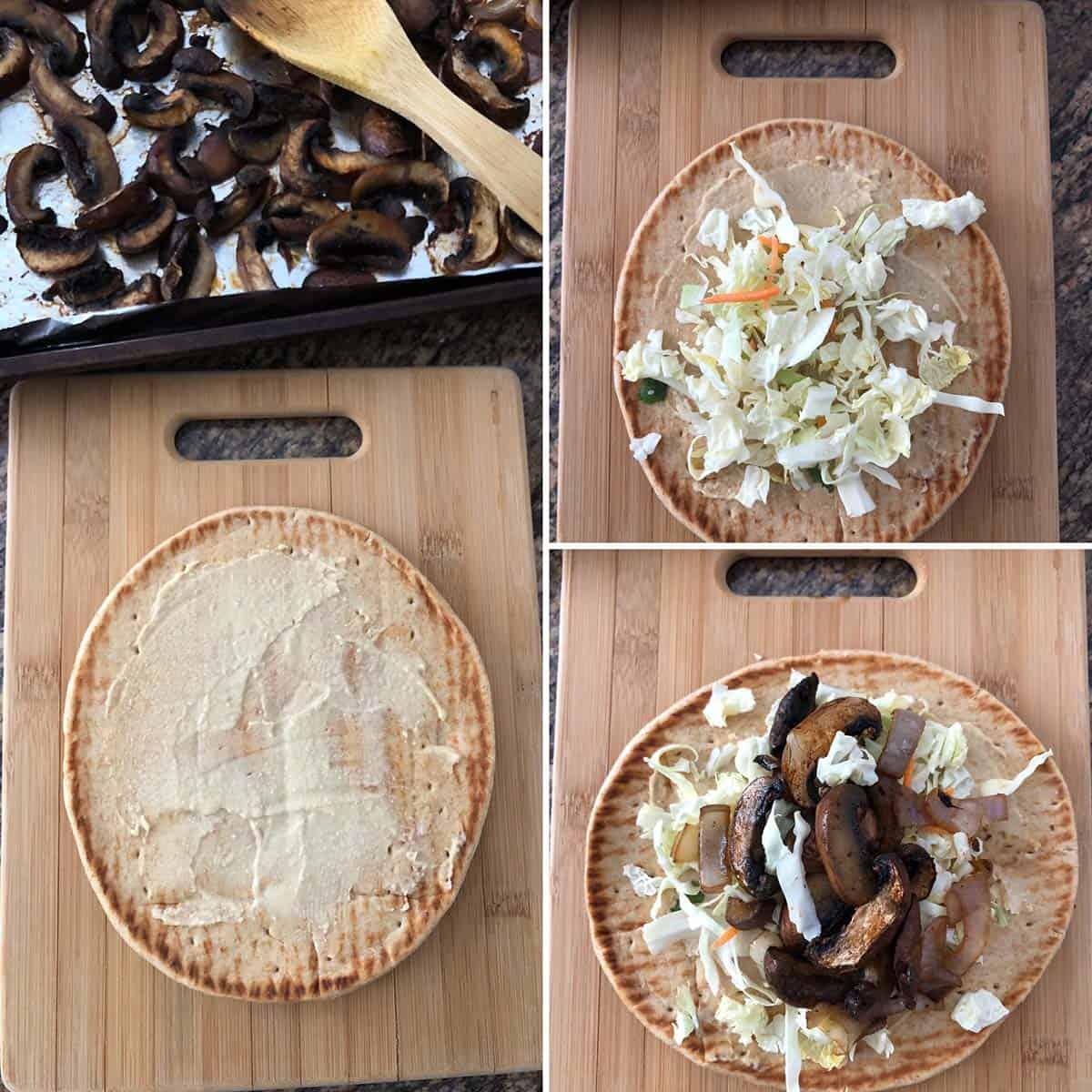 Step by step photos showing the making of Greek Mushroom Pita sandwich