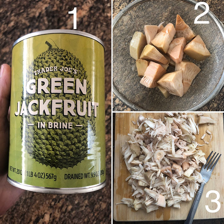 Step by step photos showing can of jackfruit being rinsed, drained and shredded