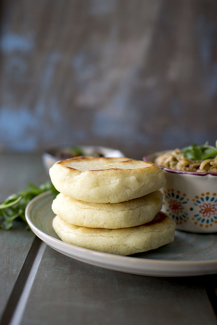 Grey plate with a stack of Venezuelan vegan arepa