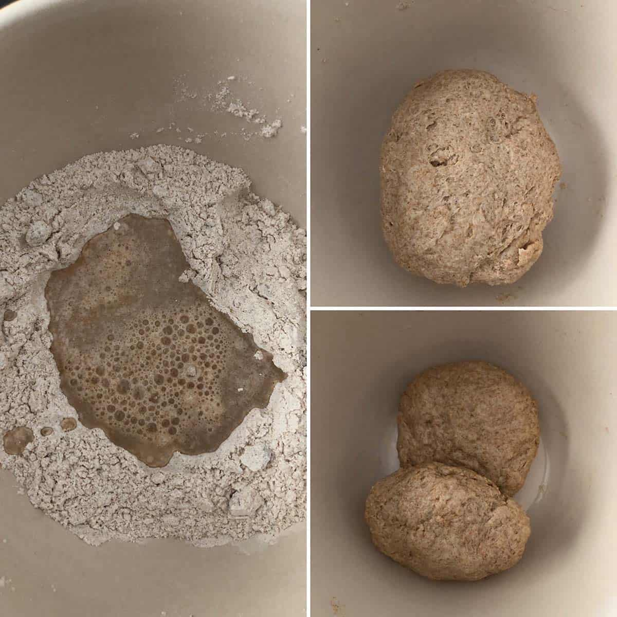 Bowl with flour and water, mixed into a dough and divided into 2 pieces