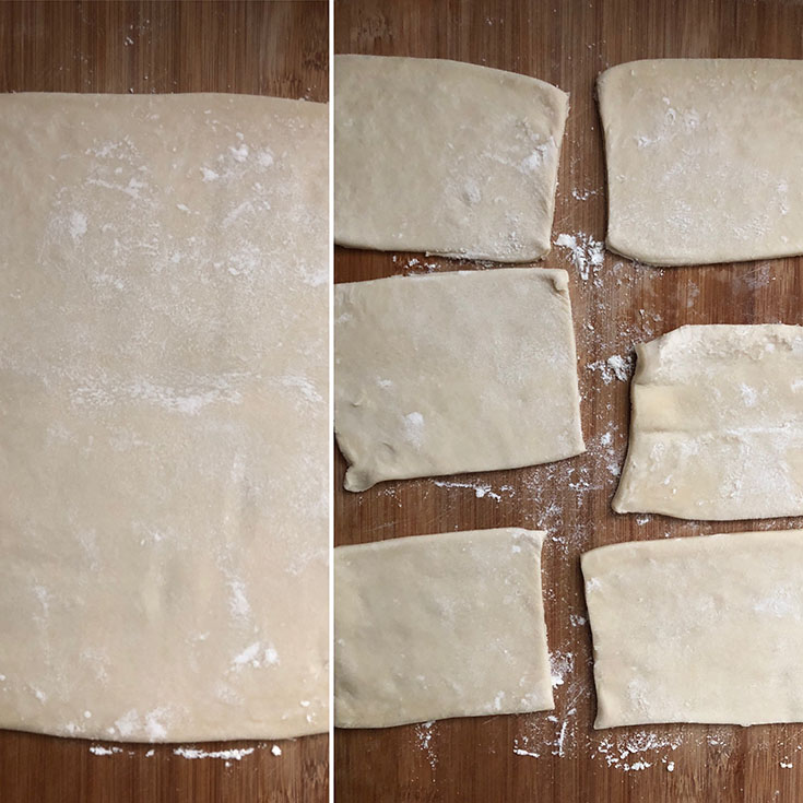 Side by side photos showing thawed puff pastry sheet and one that is cut into rectangles