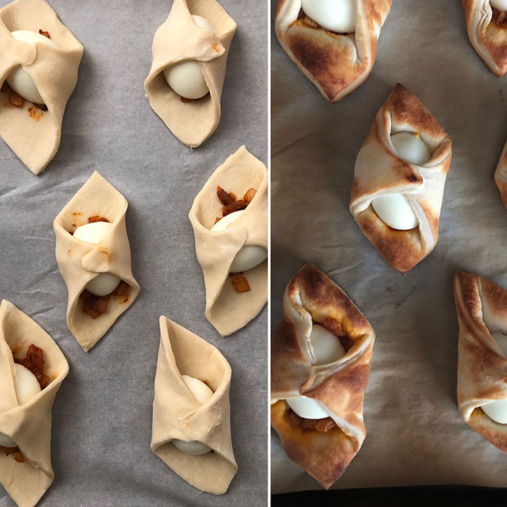 Side by side photos of prepared and baked egg puffs