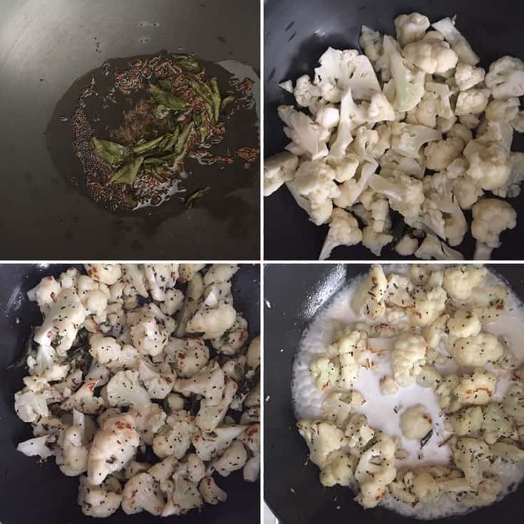 Step by step photos showing the sauteing of cauliflower and addition of coconut milk