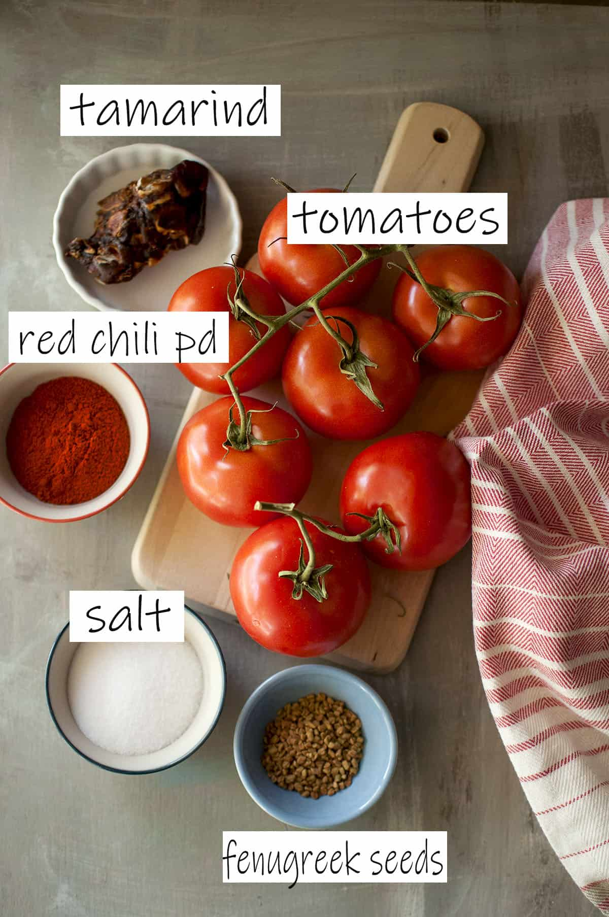 Ingredients required to make the spicy concentrate