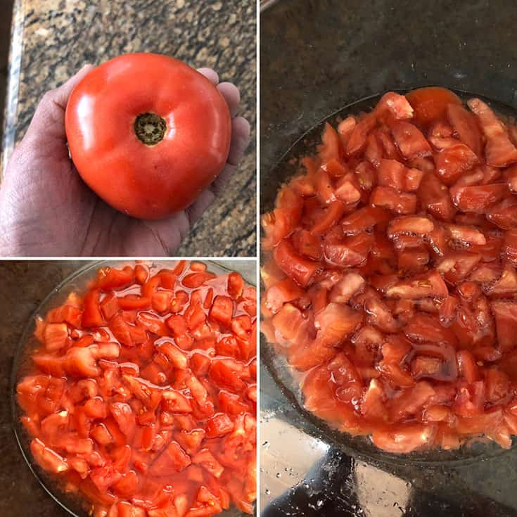Chopped fresh tomatoes, salted and set aside for 48 hours