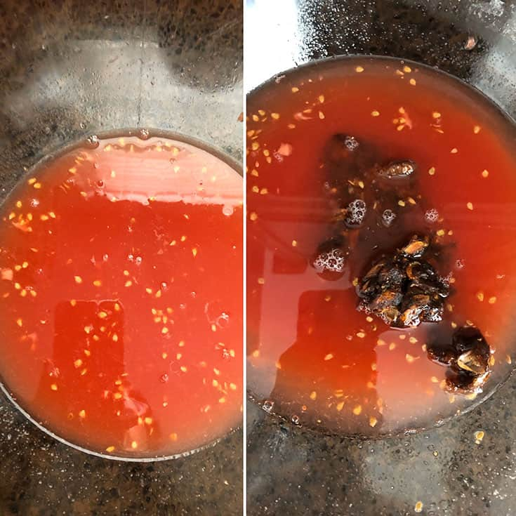 Drained tomato juice and soaked tamarind