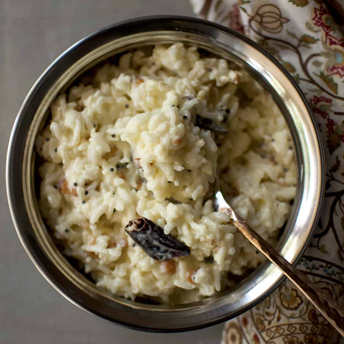 Steel bowl with curd rice