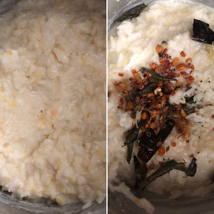 Side by side photos showing tempering added to rice