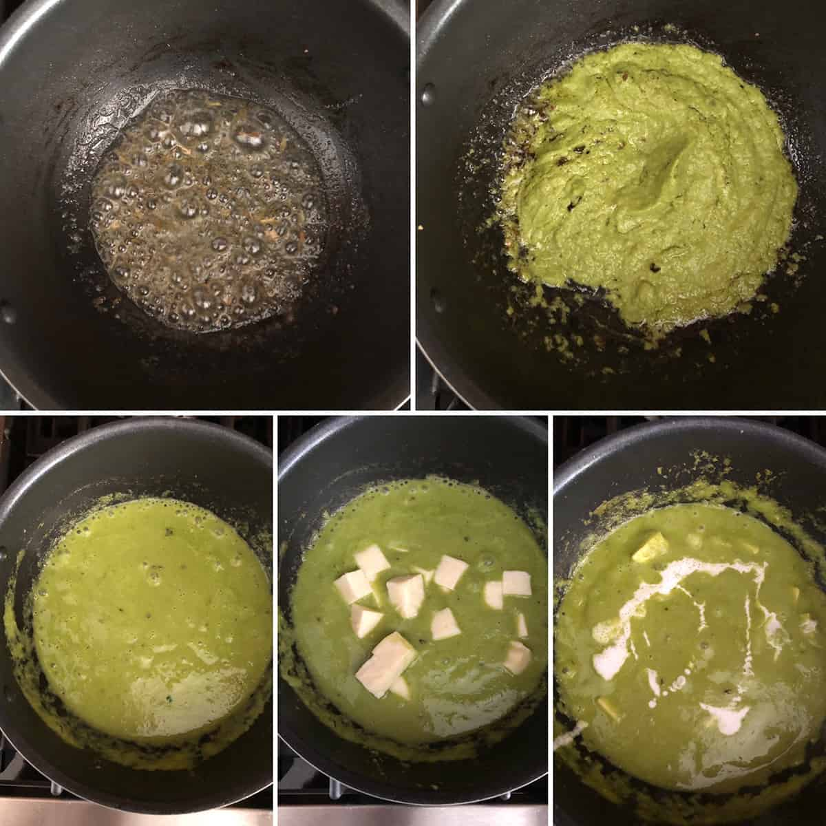 Photos showing the green spice paste cooking in butter