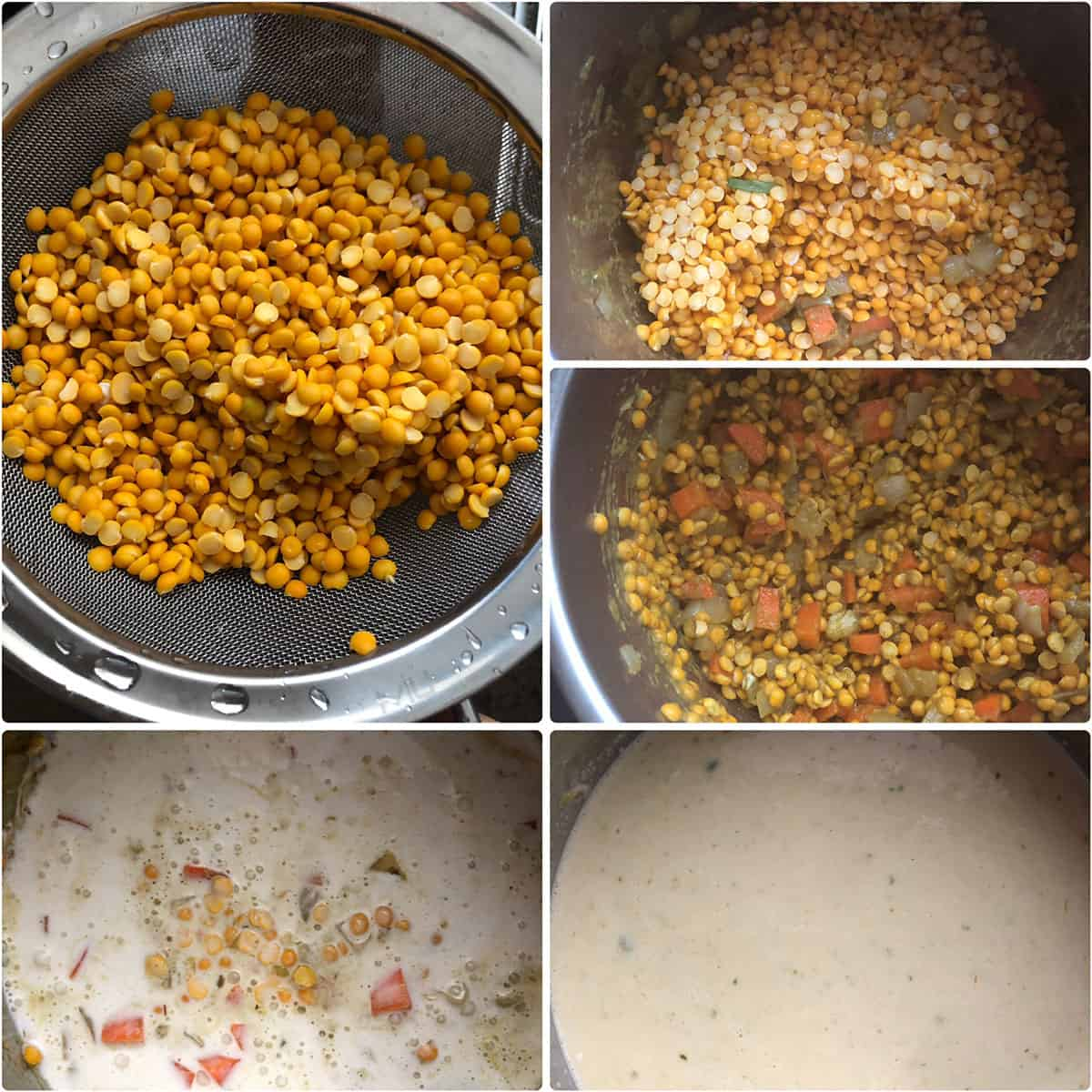 Split lentils, coconut milk added to soup ingredients in instant pot