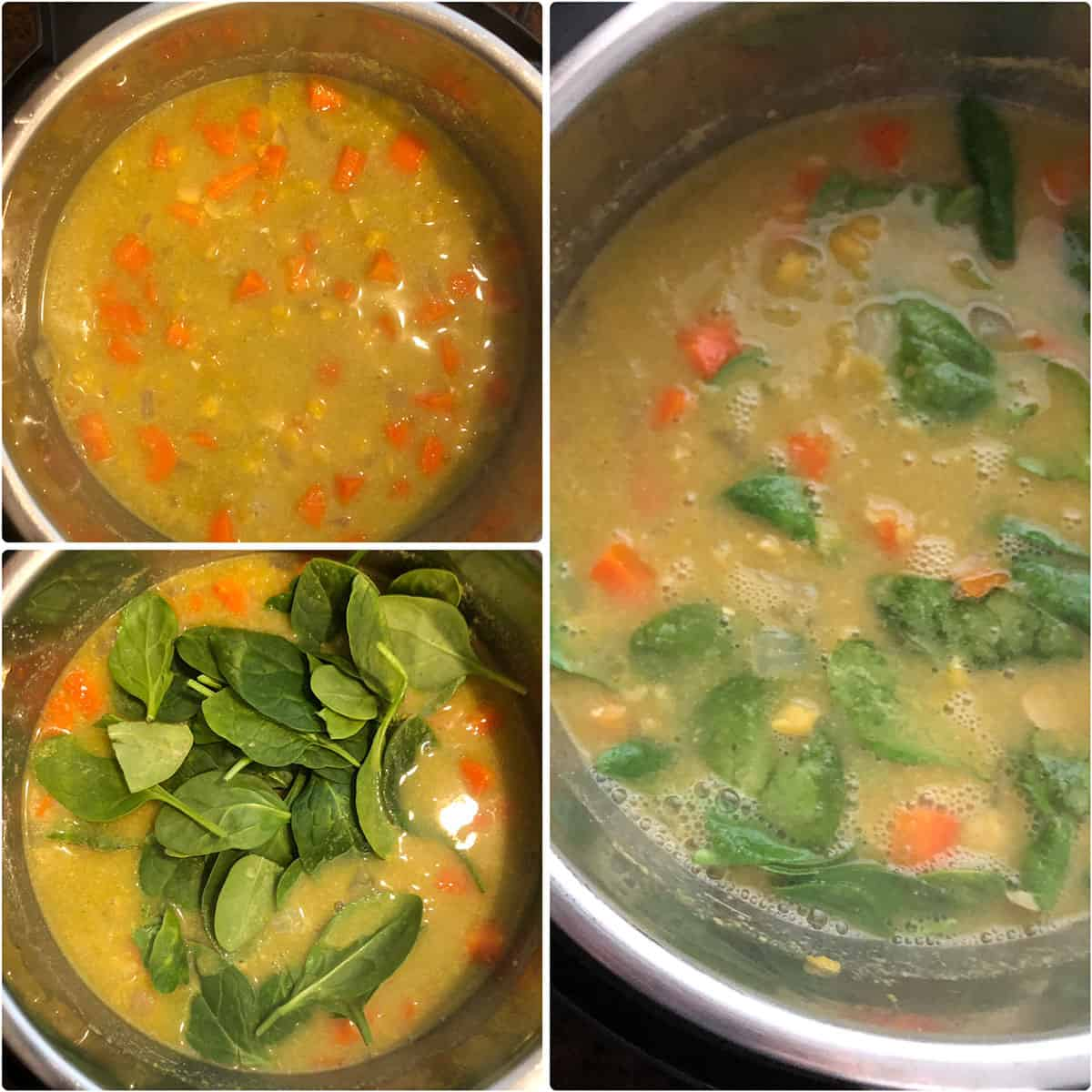 Adding fresh spinach leaves added to cooked soup