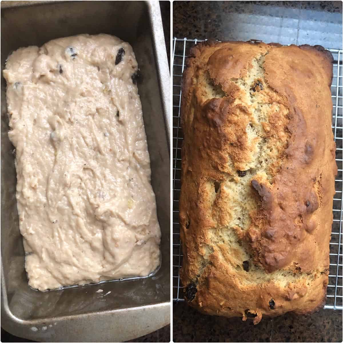 Side by side photos of before and after baking