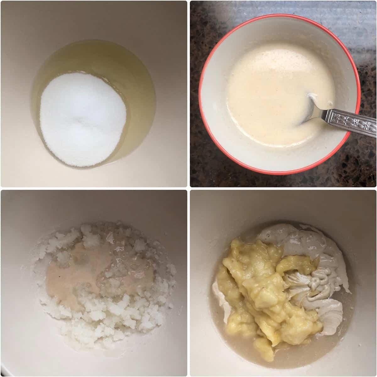 Combining oil, sugar, egg replacer, mashed banana to mixing bowl